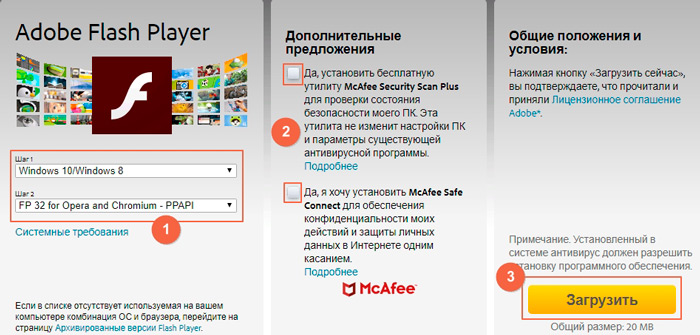 Скачивания Adobe Flash Player с сайта разработчиков